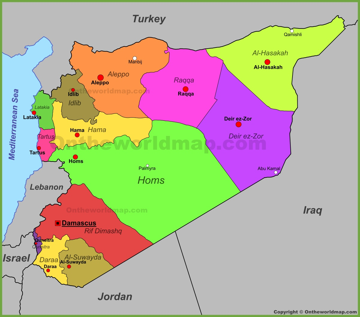 Syria Political Map - Syria world map