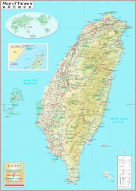 Large detailed tourist map of Taiwan with cities and towns