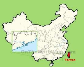 Taiwan location on the map of China