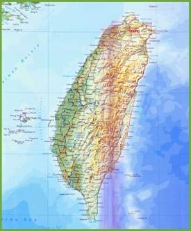 Taiwan physical map