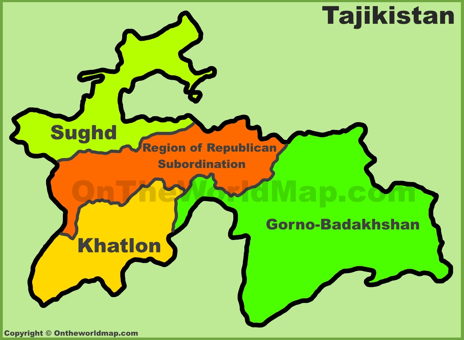 Map Of Tajikistan Administrative divisions map of Tajikistan