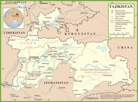 Large detailed political map of Tajikistan with cities and towns