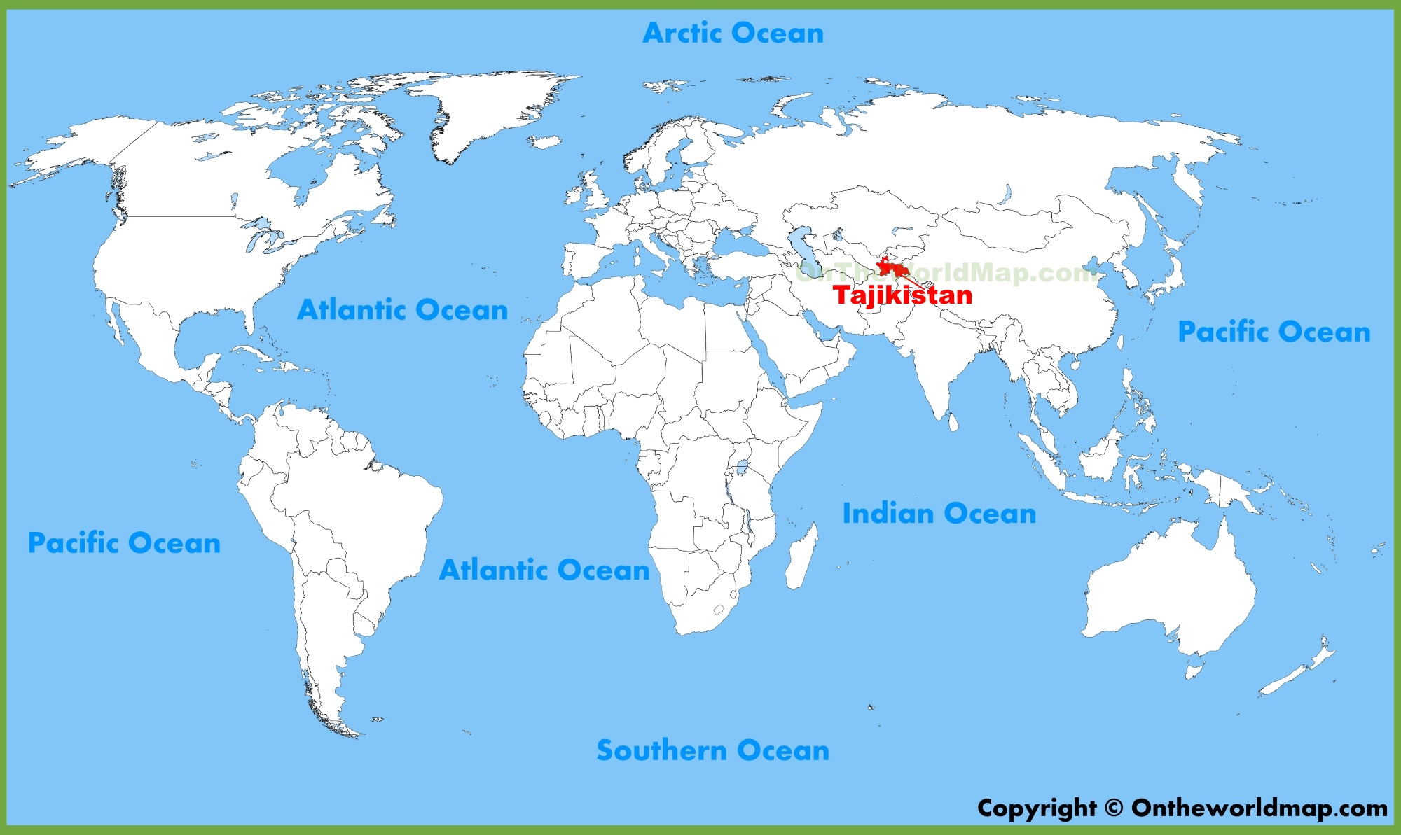 Tajikistan location on the World Map