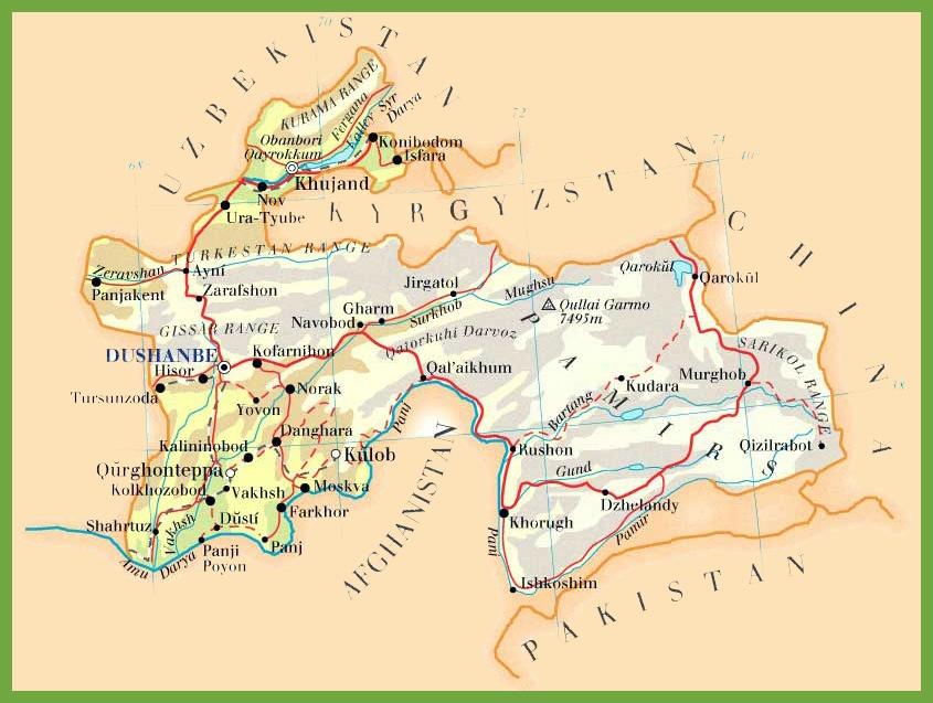 Tajikistan Maps Maps of Tajikistan
