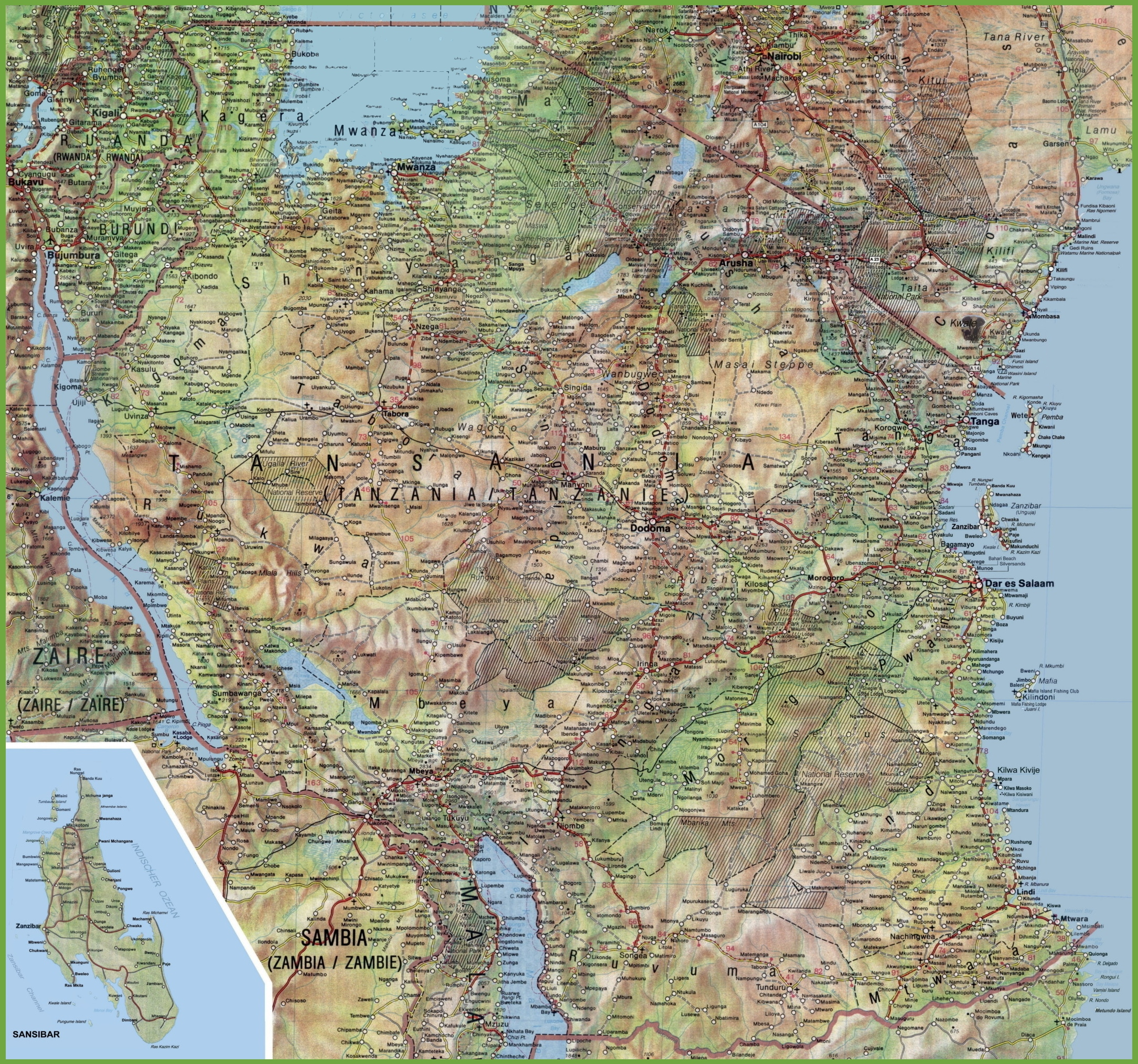 Large detailed map of Tanzania with cities and towns