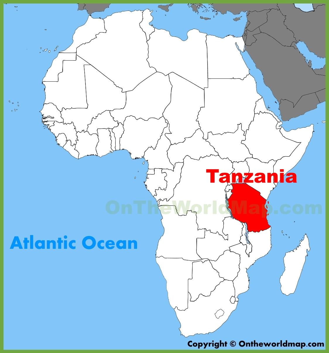 Tanzania Africa Map Tanzania location on the Africa map