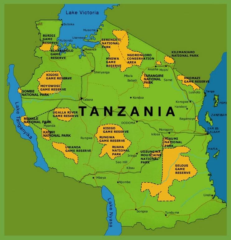 Tanzania national parks map