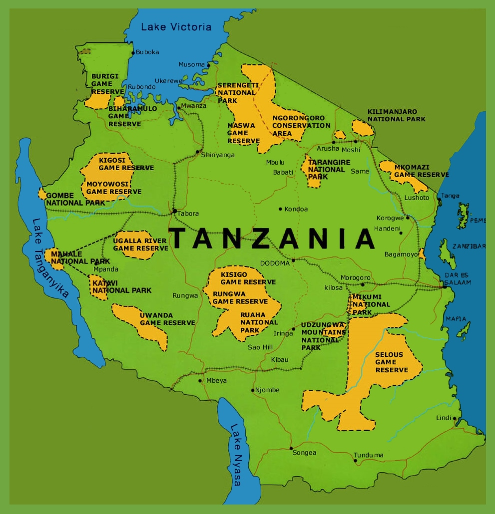 Map Of Tanzania Tanzania national parks map Map Of Tanzania