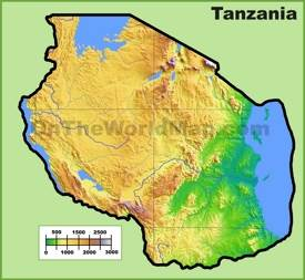 Tanzania physical map