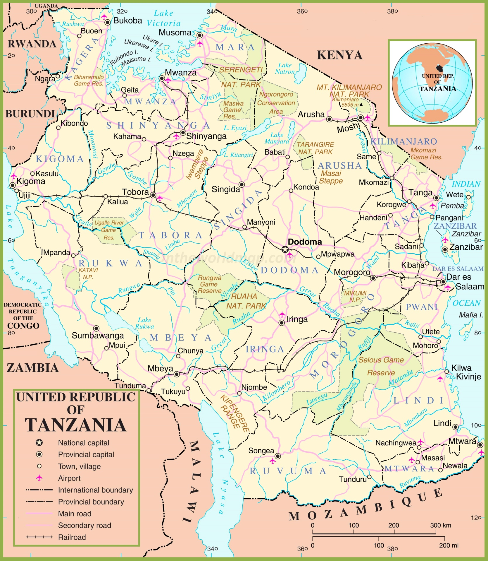 Map Of Tanzania Tanzania political map Map Of Tanzania