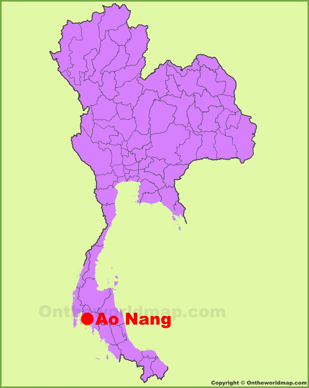 Ao Nang location on the Thailand Map