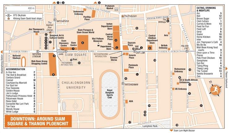 Around Siam Square and Thanon Ploenchit map