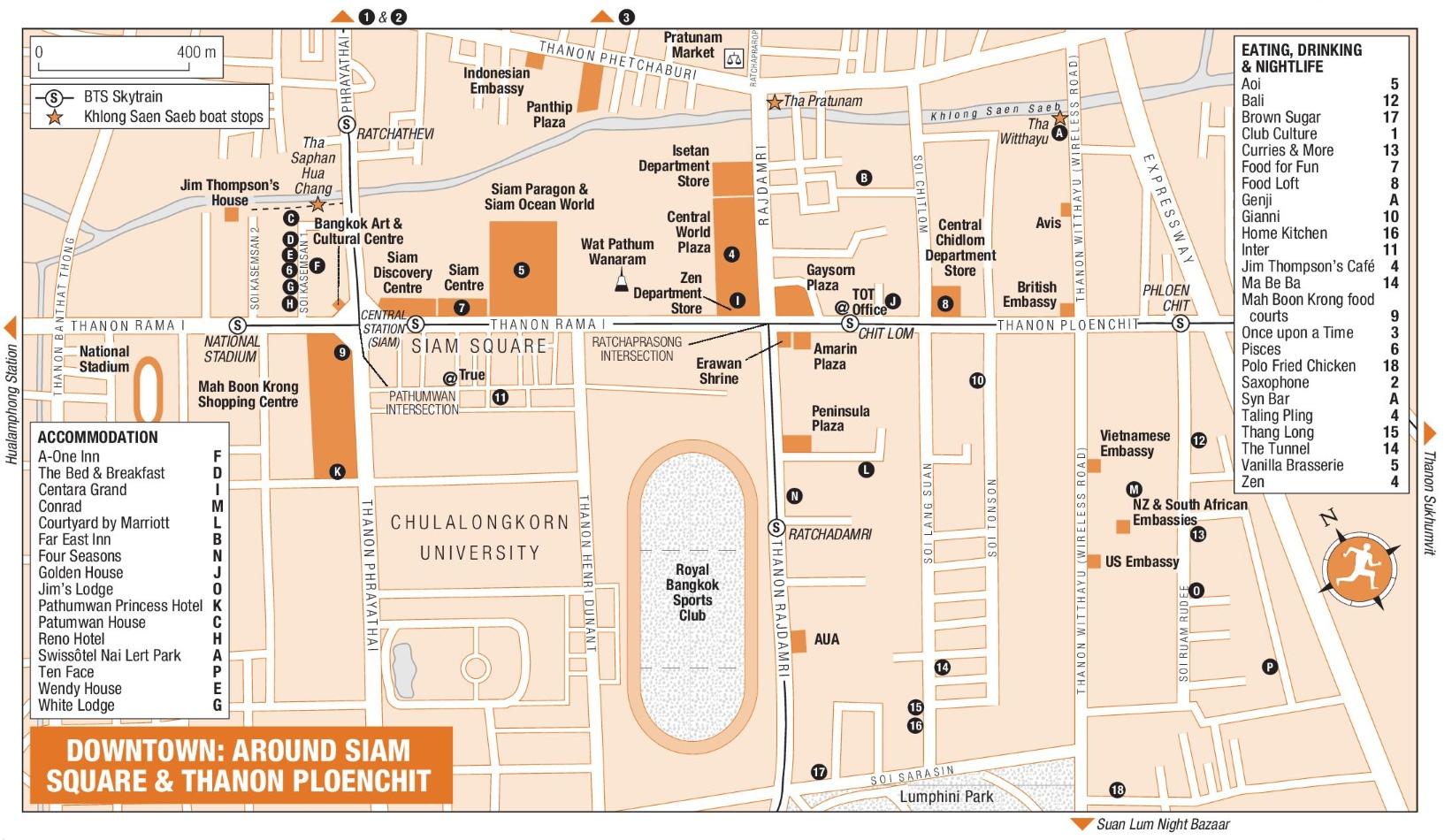 Around Siam Square And Thanon Ploenchit Map Bangkok - Reno hotels map