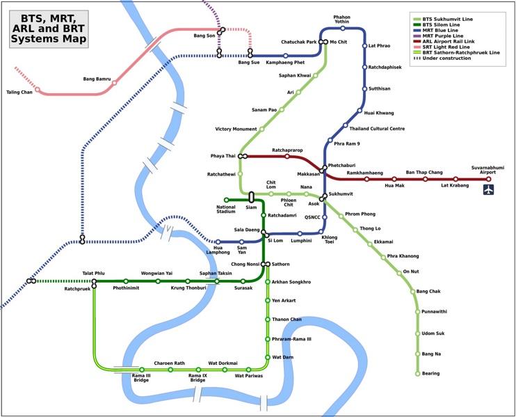Bangkok BTS, MRT, ARL and BRT map