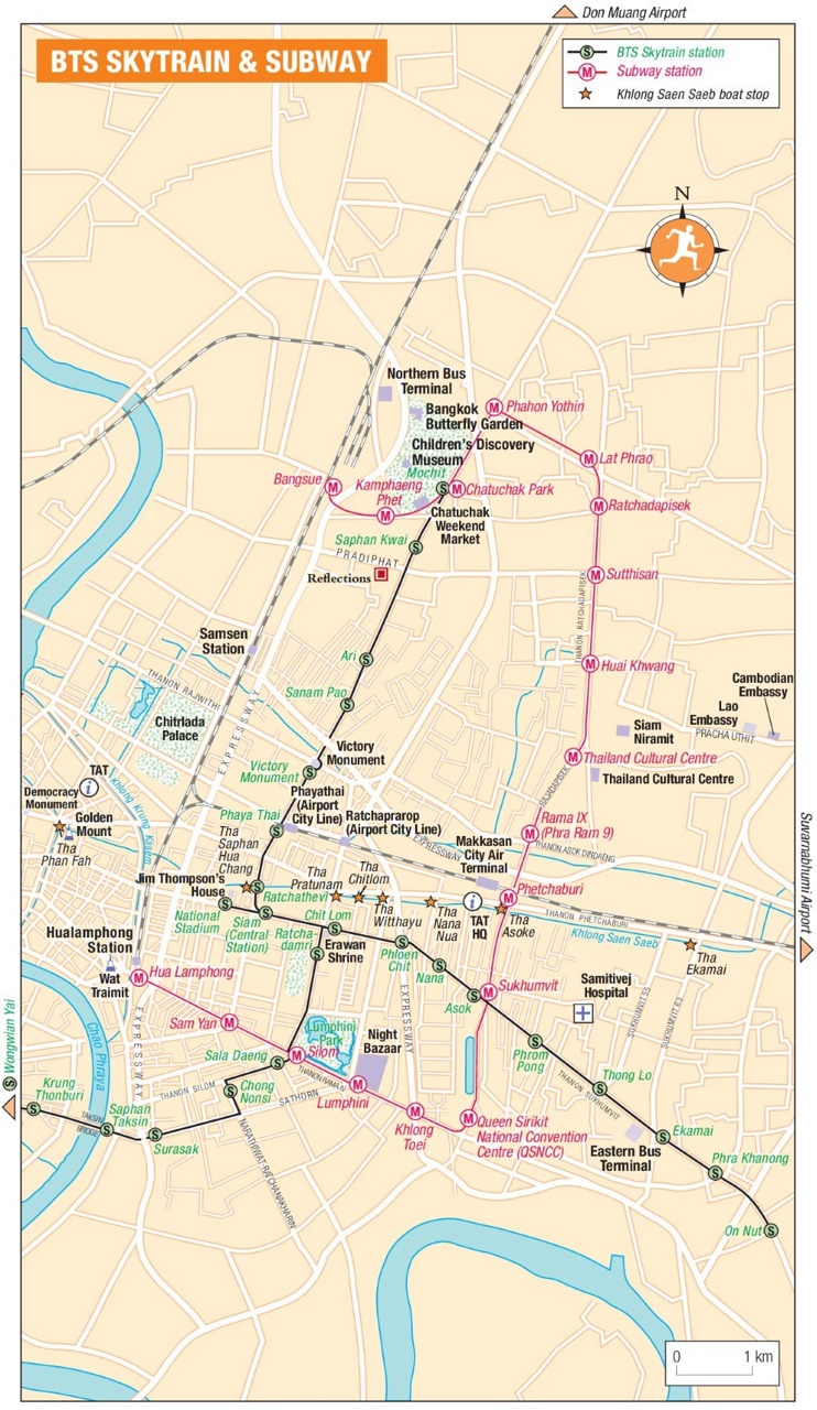 Bangkok BTS Skytrain and subway map