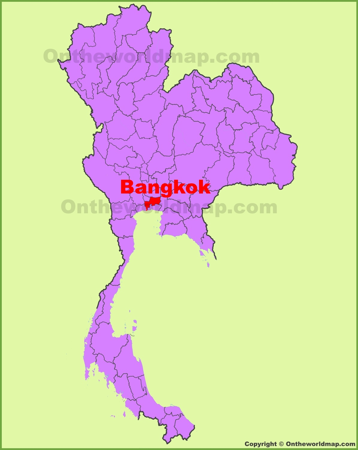 Bangkok location on the Thailand Map