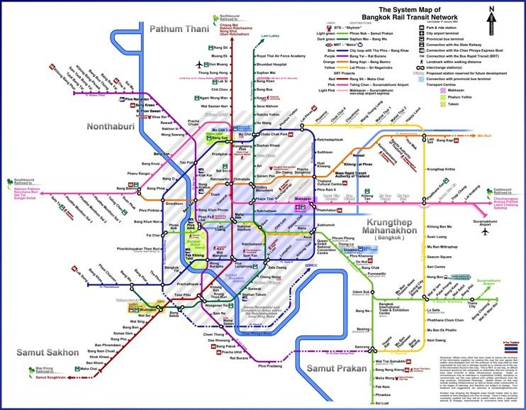 Bangkok rail transport map