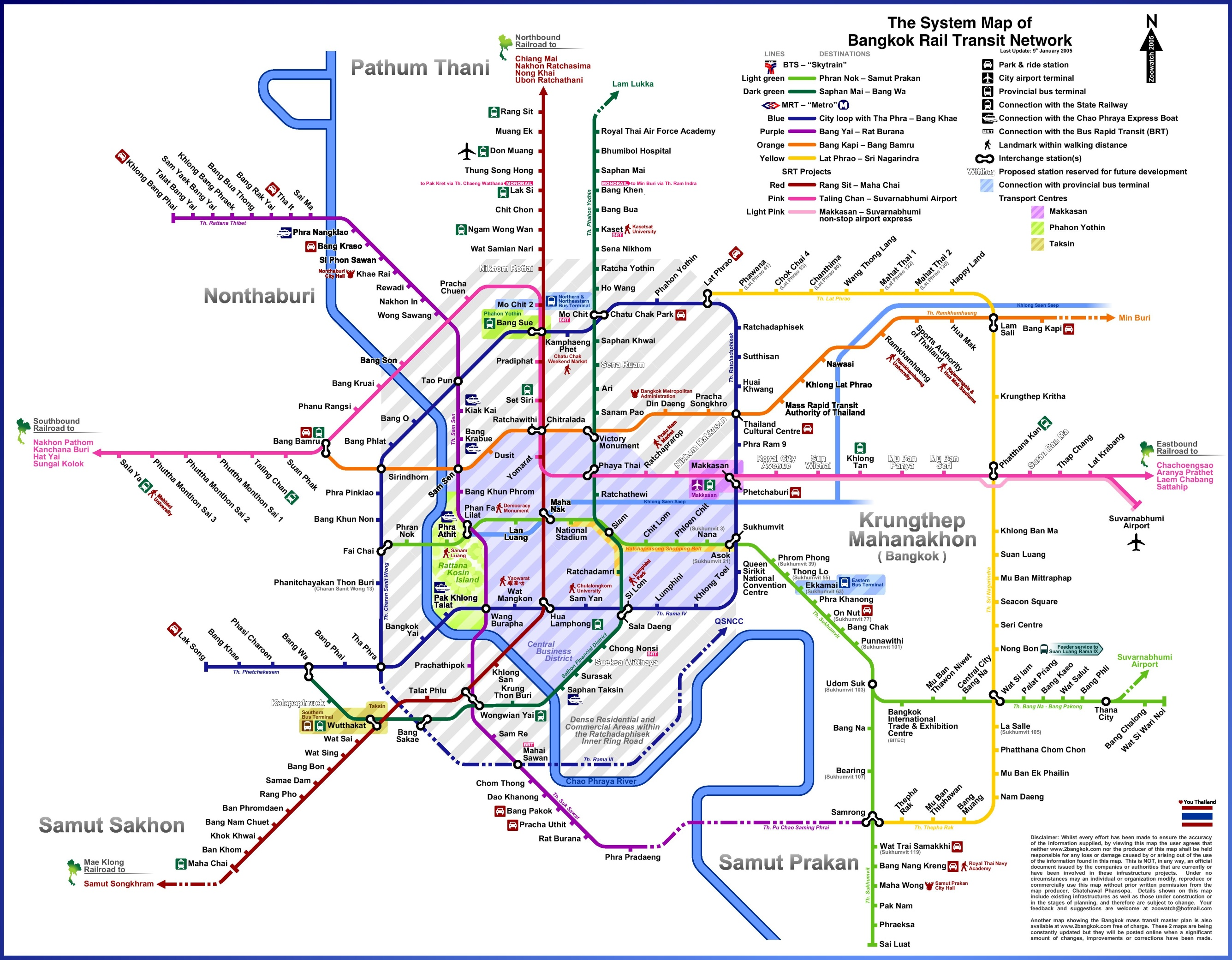 Bangkok rail transport map