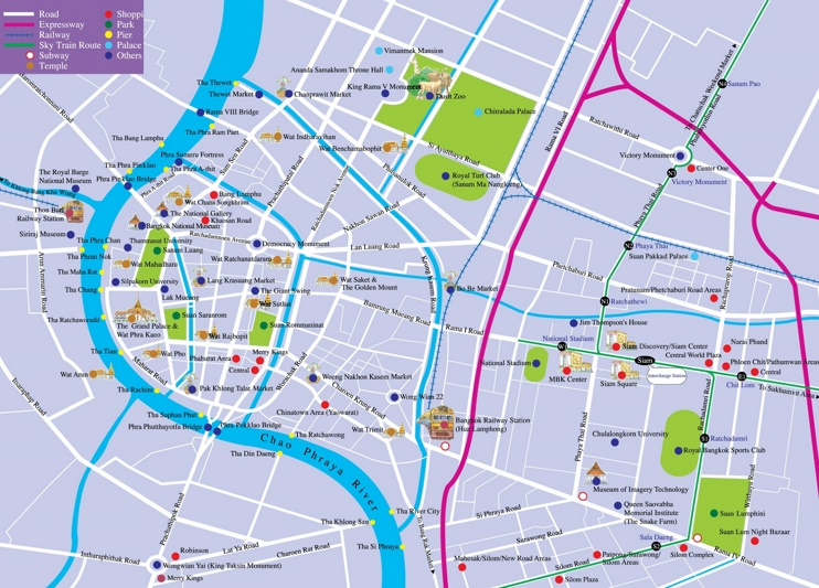 Bangkok tourist attractions map