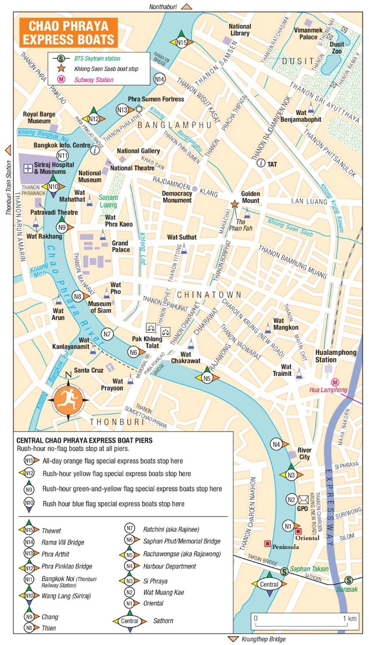 Chao Phraya Express Boats map