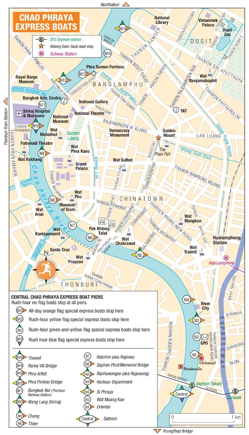 Chao Phraya Express Boats map Bangkok