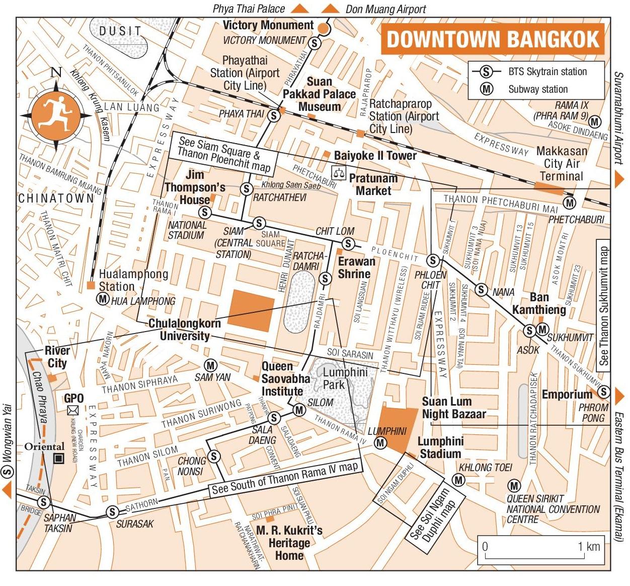 Bangkok downtown map