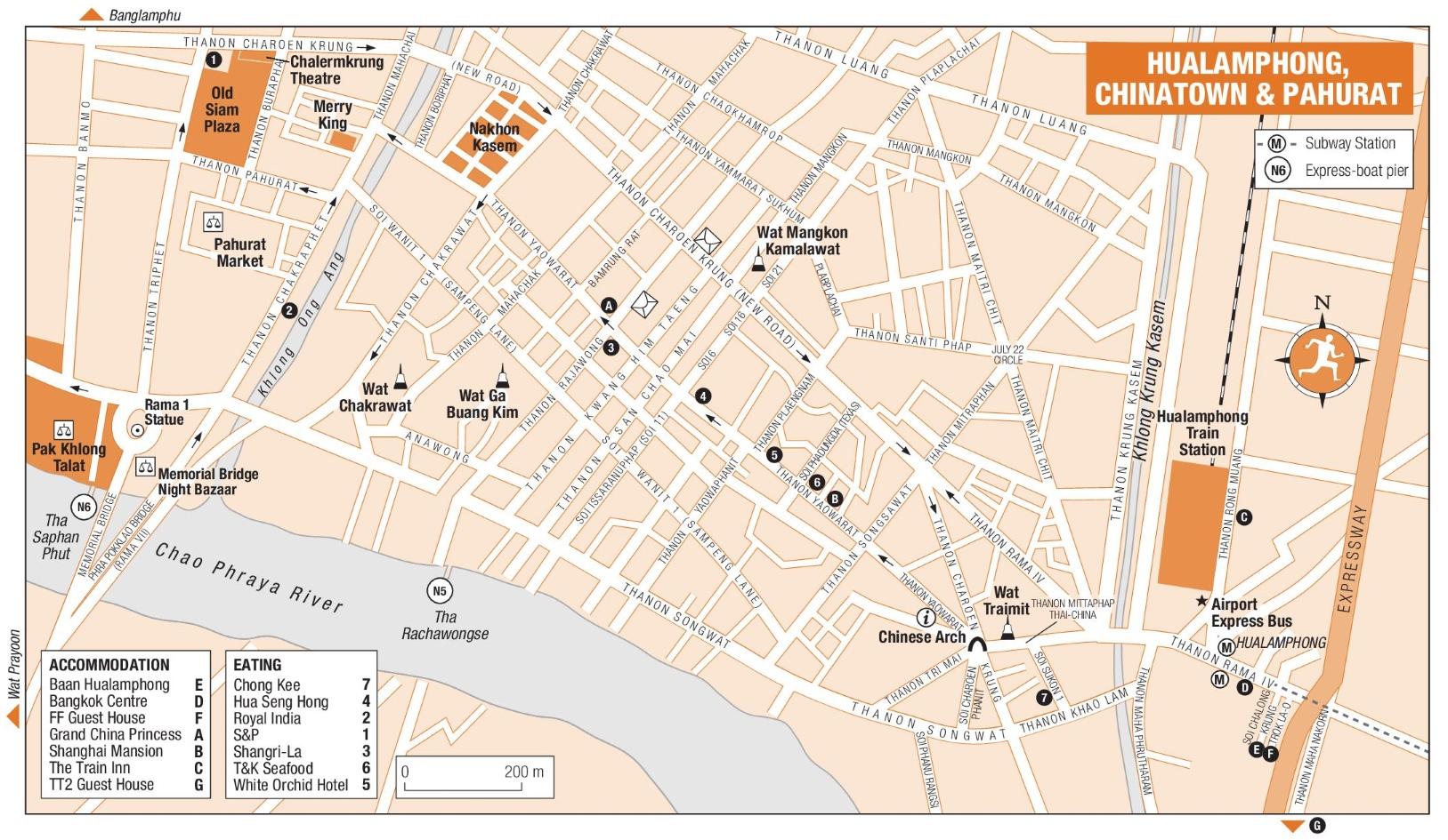 Bangkok Hualamphong Chinatown and Pahurat map Bangkok