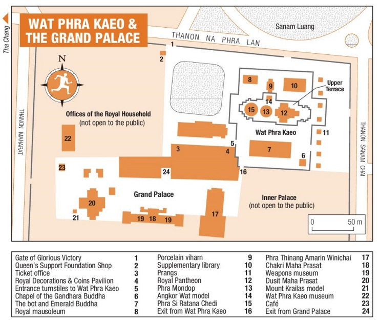Wat Phra Kaeo and The Grand Palace map