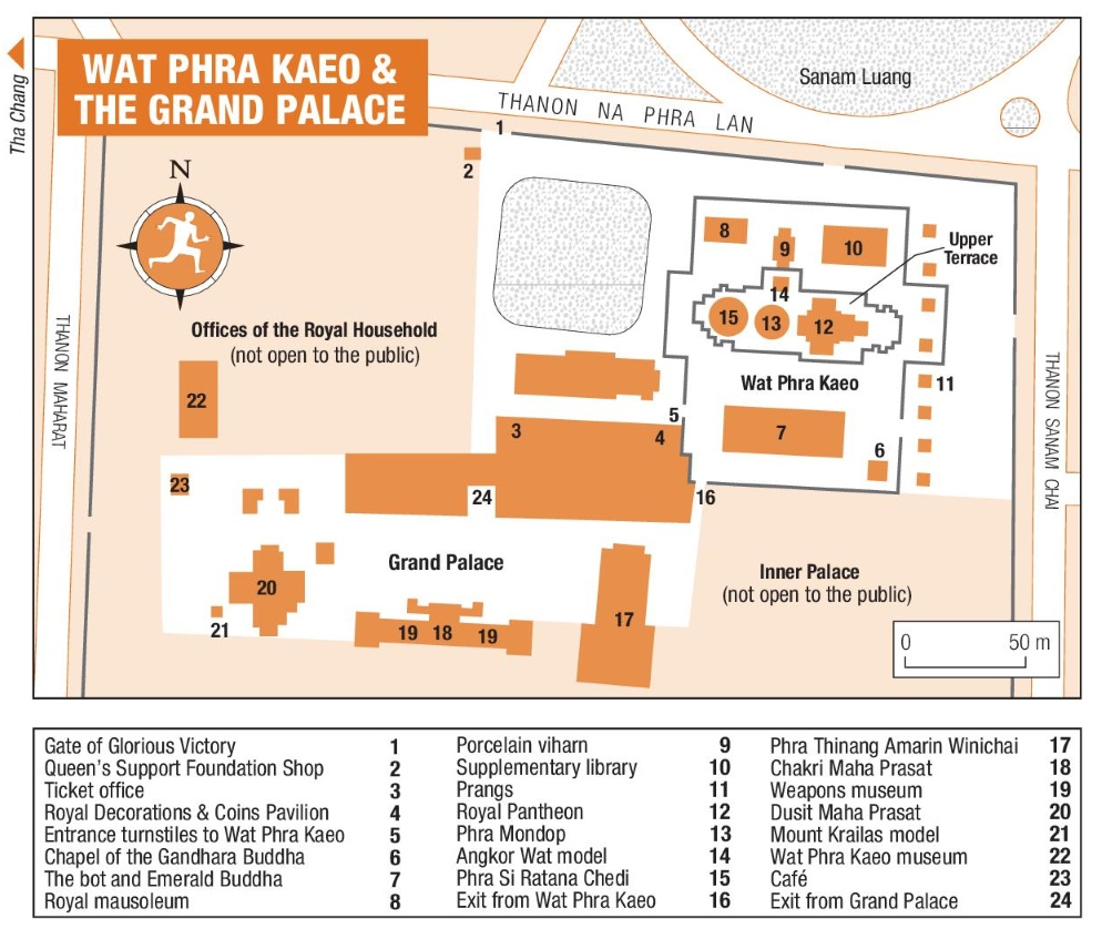 Wat Phra Kaeo and The Grand Palace map Bangkok