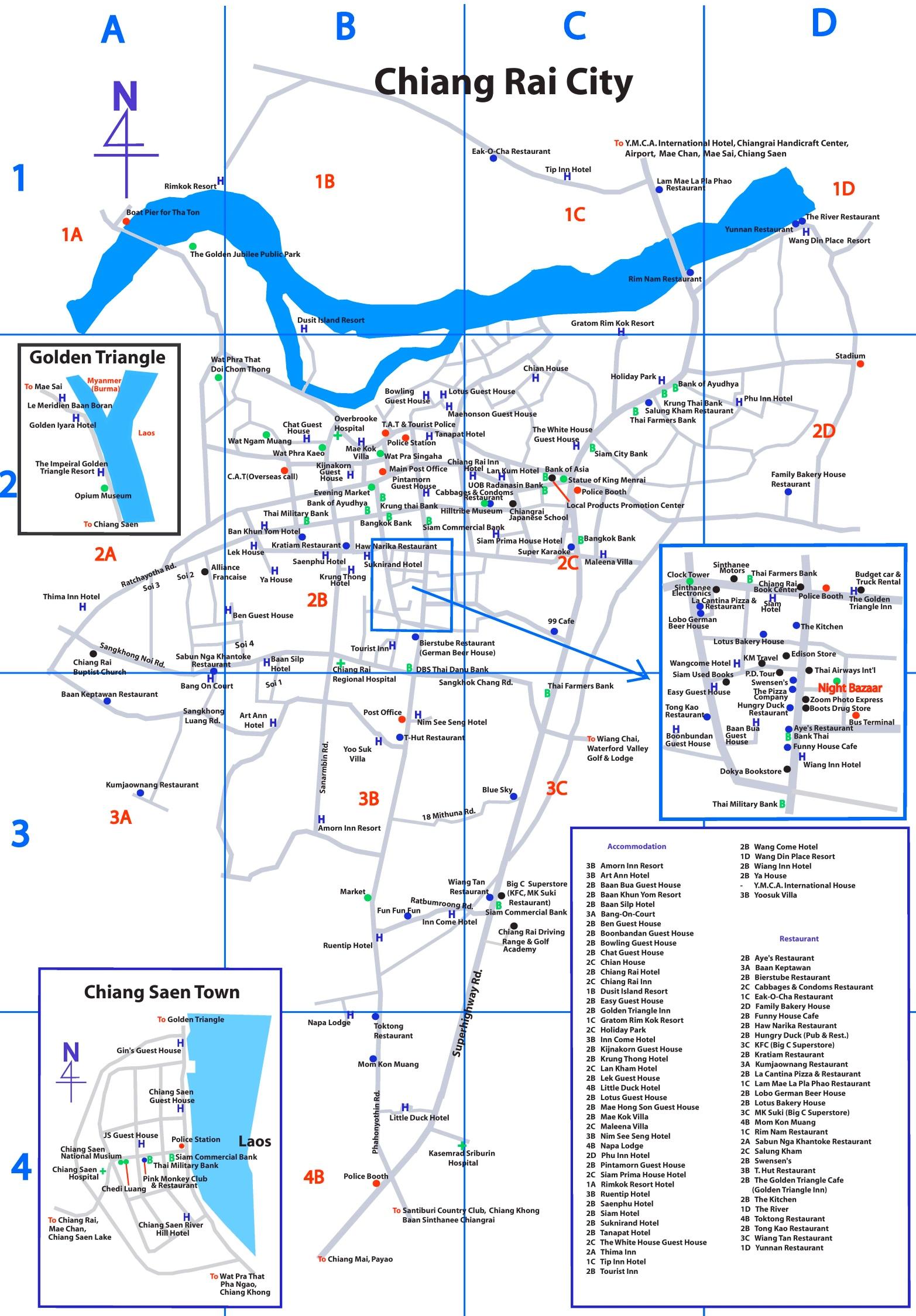Chiang Rai tourist map