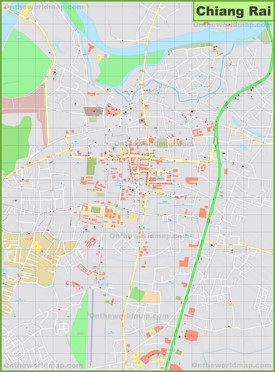 Large detailed map of Chiang Rai