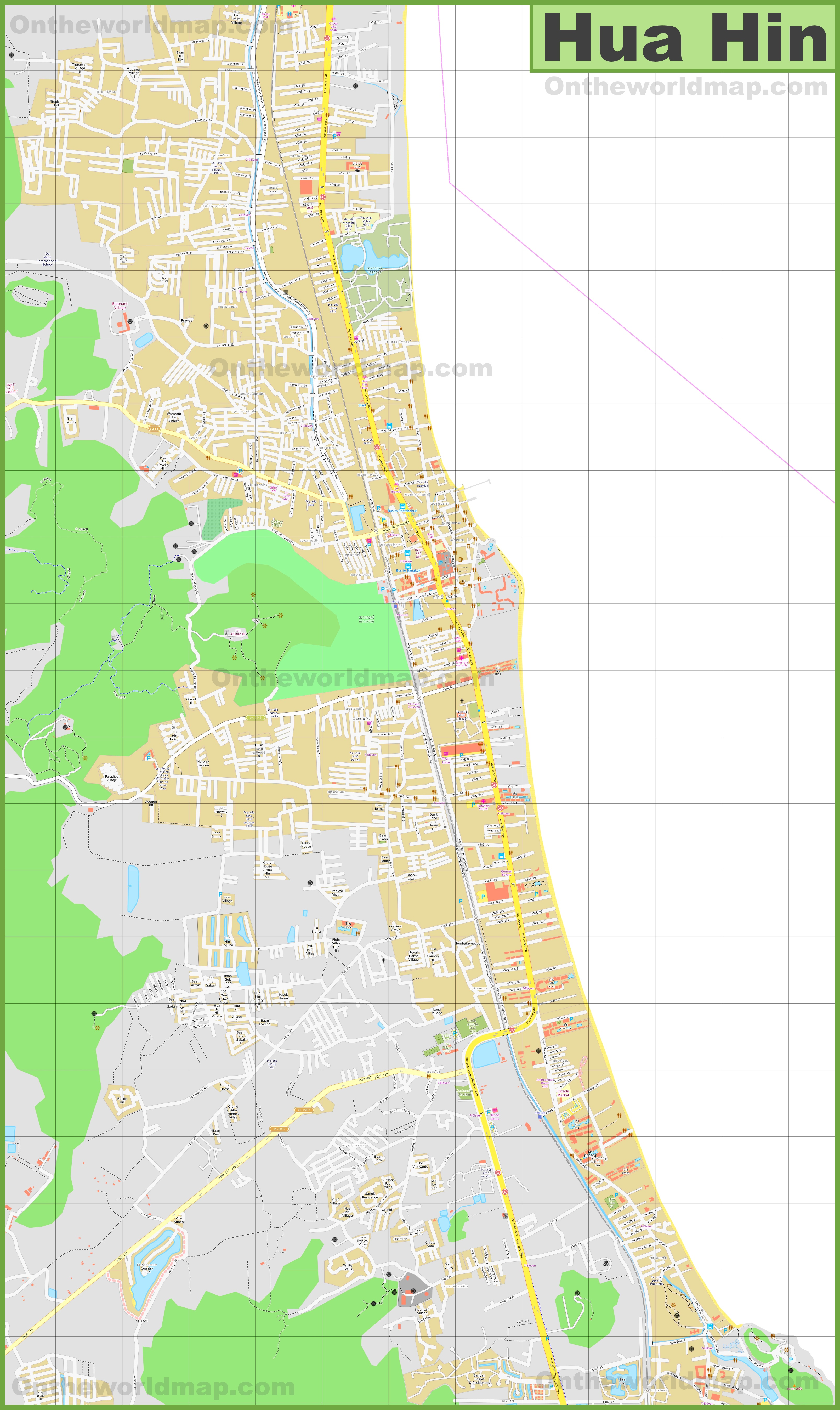 Large detailed map of Hua Hin