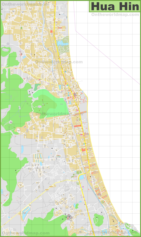 Large detailed map of Hua Hin