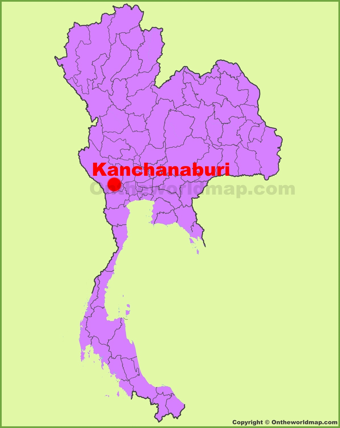 Kanchanaburi location on the Thailand Map