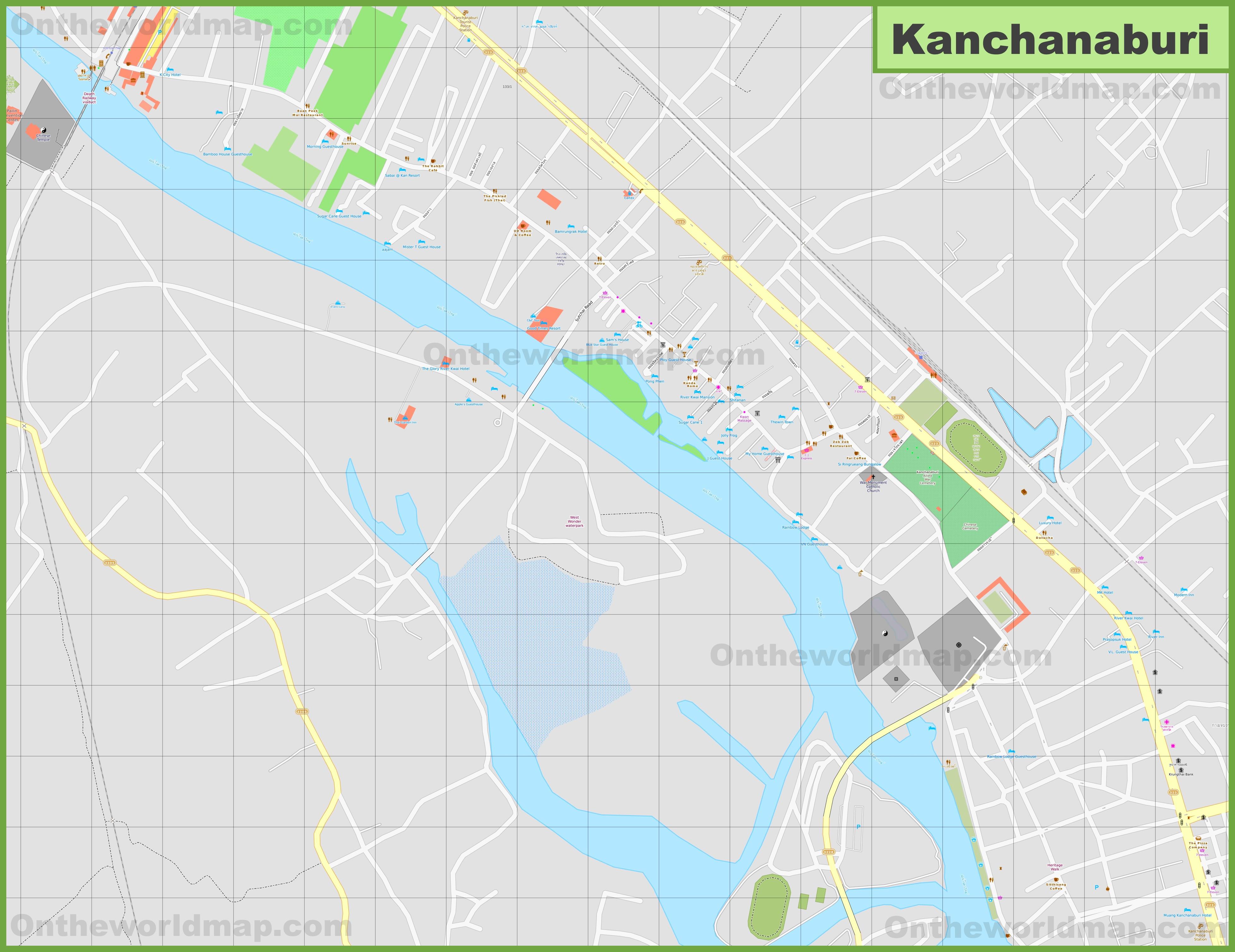 Large detailed map of Kanchanaburi