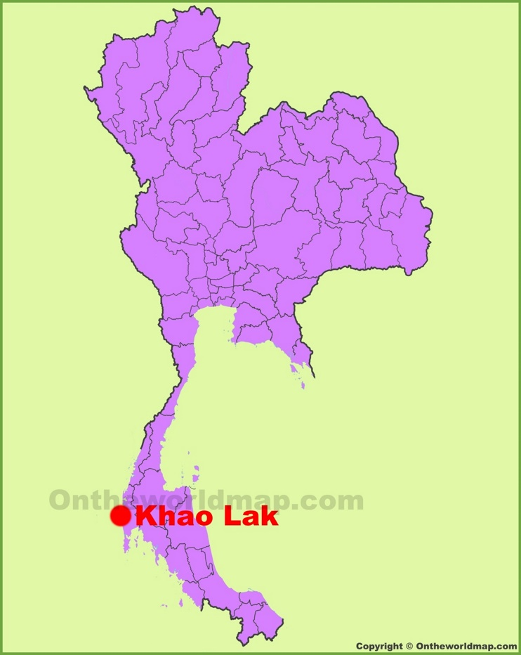 Khao Lak location on the Thailand Map