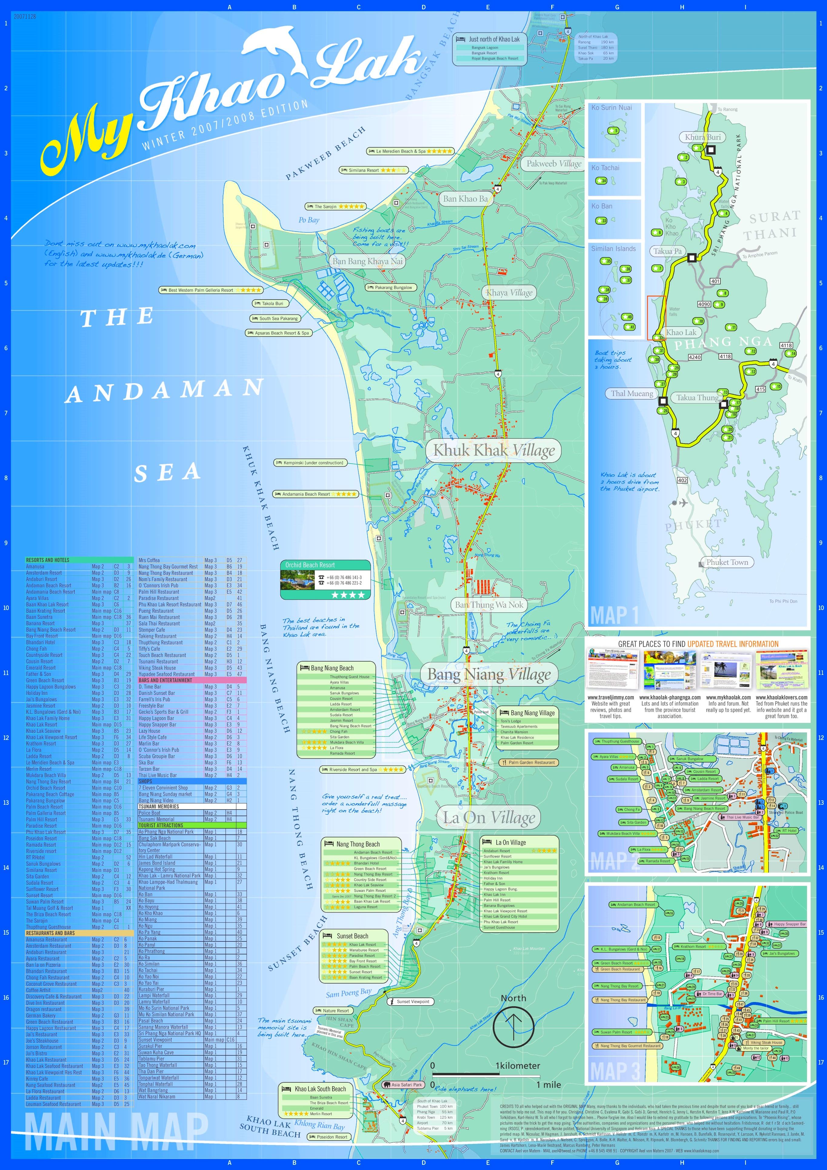 Khao Lak Map Khao Lak tourist map