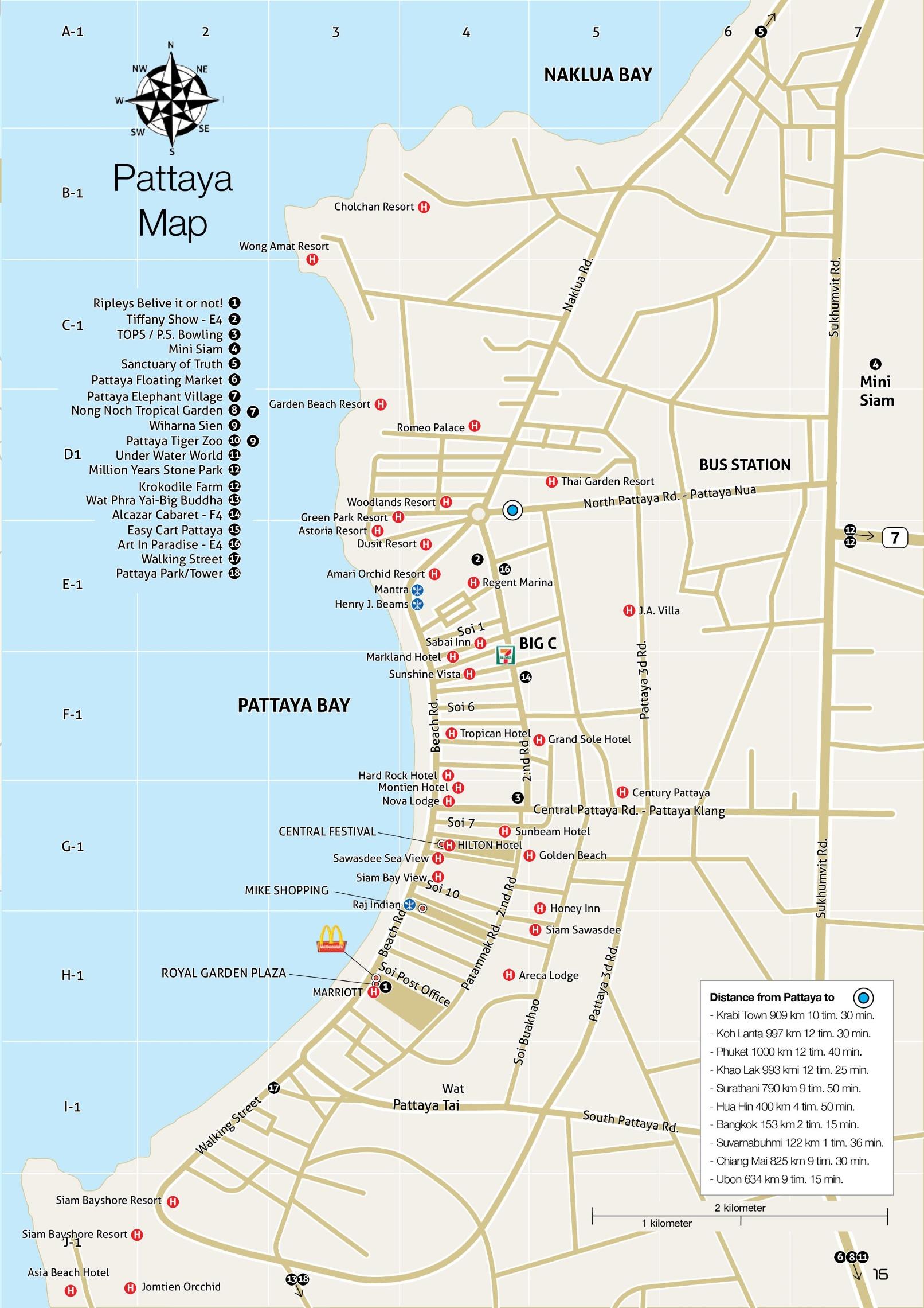 Pattaya Hotel Map