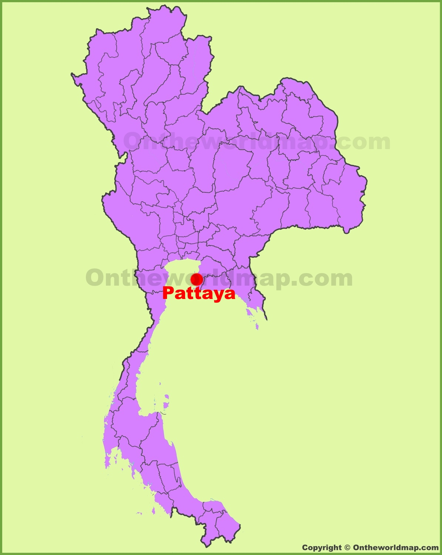 Pattaya location on the Thailand Map