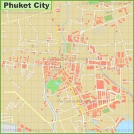 Large detailed map of Phuket City