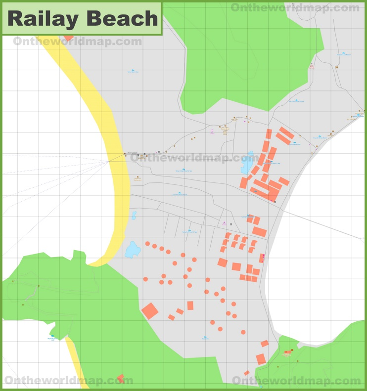 Detailed tourist map of Railay Beach