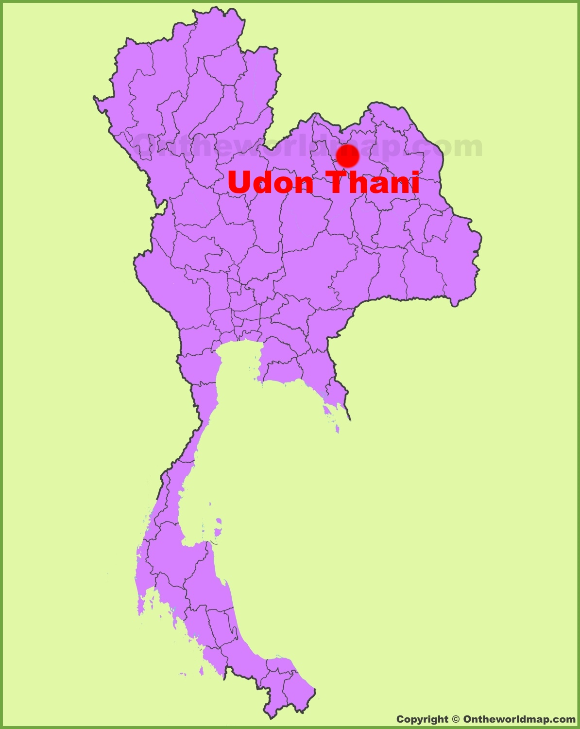 Udon Thani location on the Thailand Map
