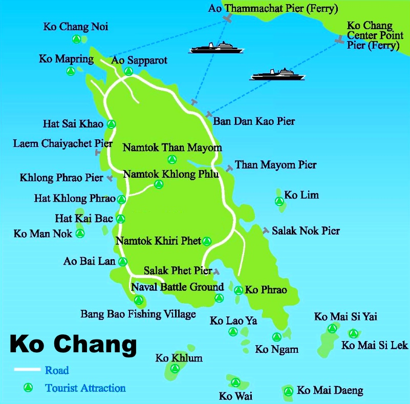Koh Chang tourist attractions map
