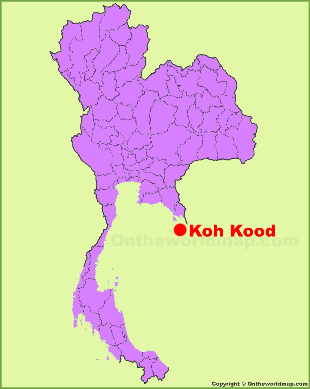 Koh Kood location on the Thailand Map
