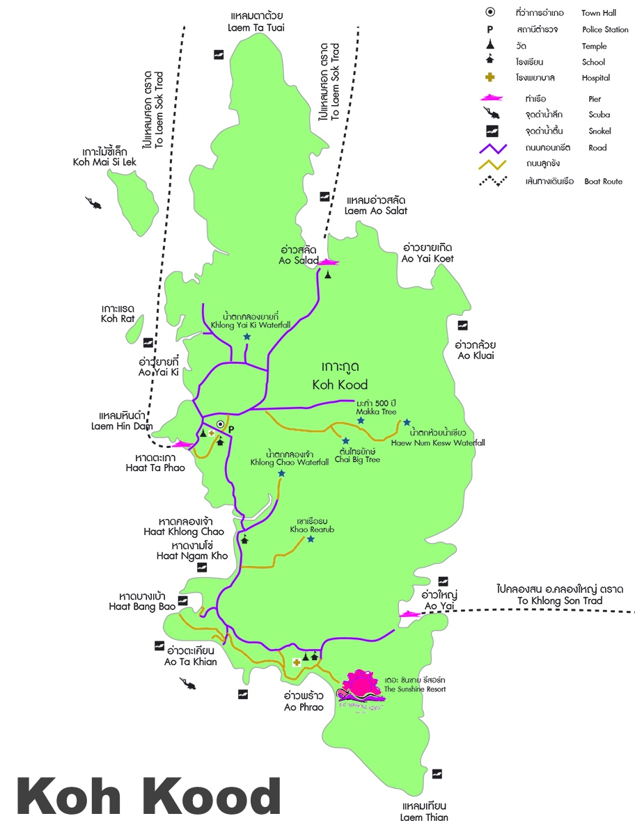 Koh Kood tourist attractions map