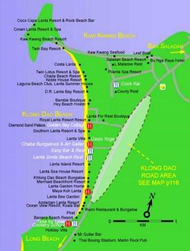 Klong Dao Beach map