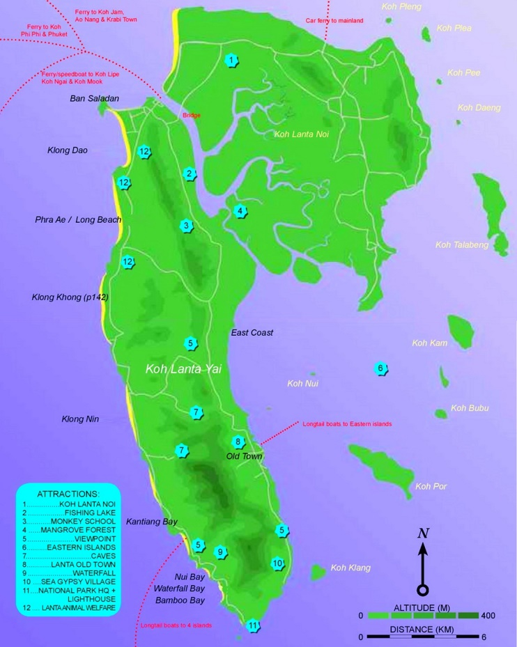 Koh Lanta tourist attractions map
