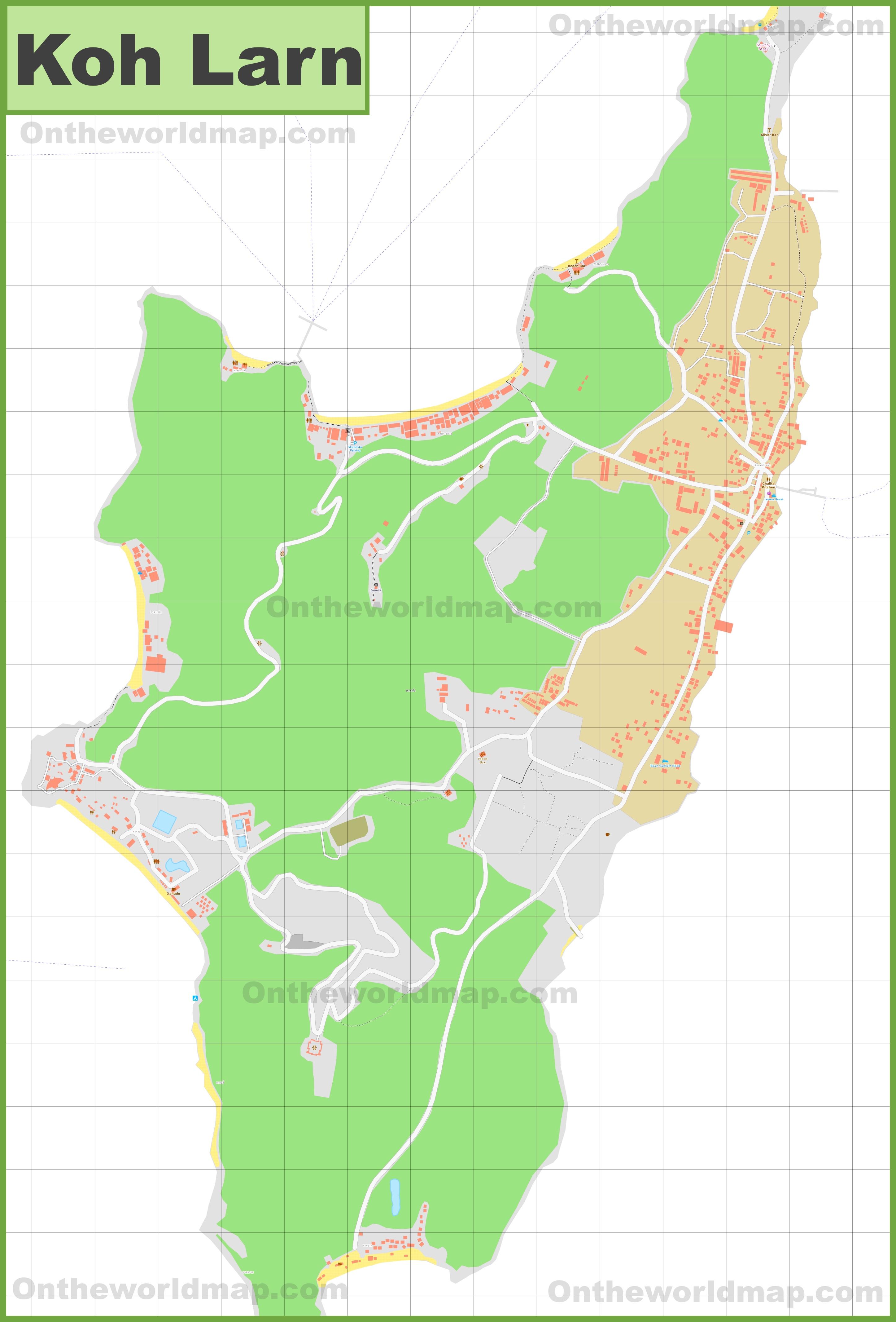 Large detailed map of Koh Larn
