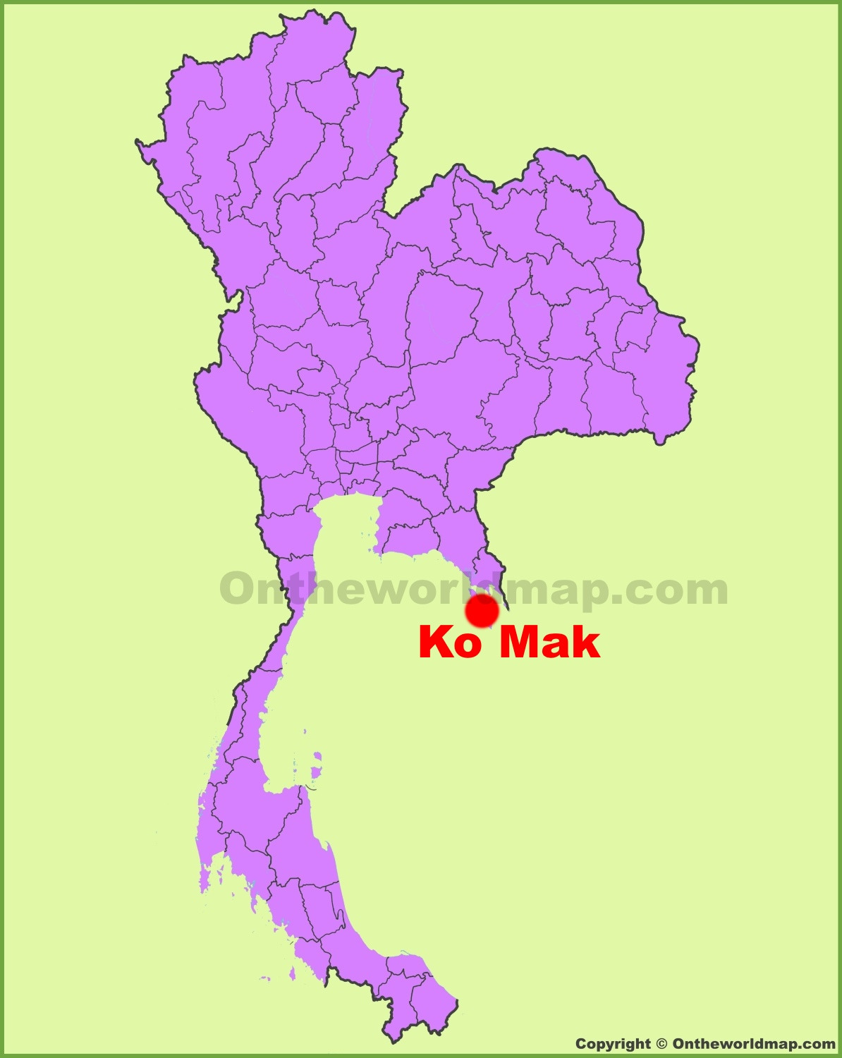 Koh Mak location on the Thailand Map