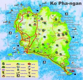 Koh Phangan tourist attractions map